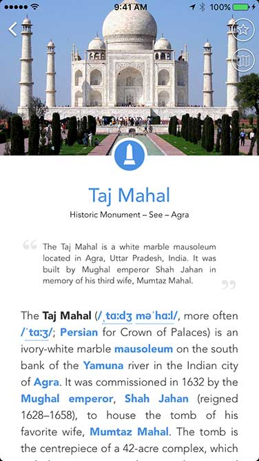 iPhone app screenshot showing a travel guide of the Taj Mahal