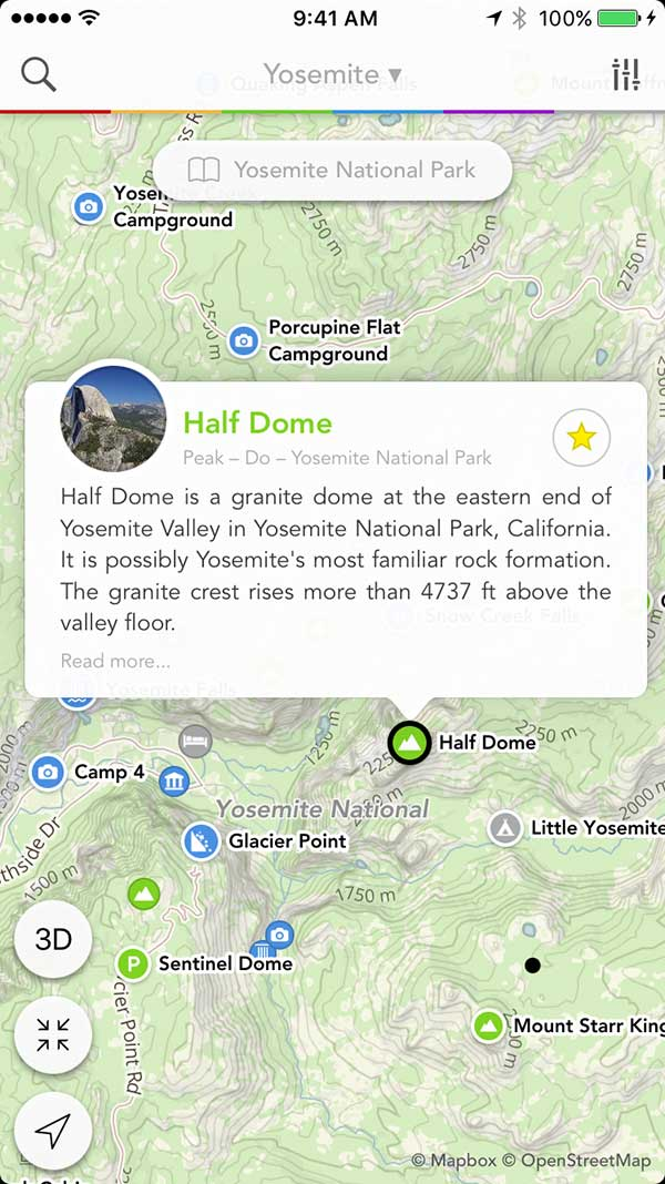 iPhone app screenshot showing Half Dome bookmarked on a map